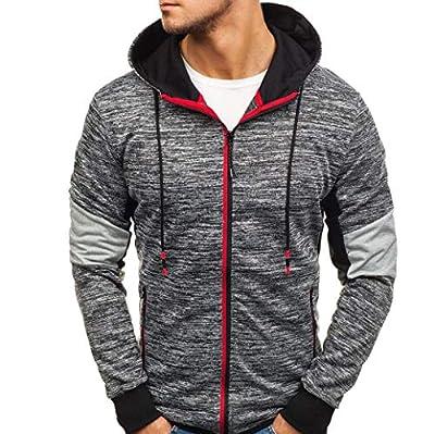 Easytoy Mens Sweater, Autumn Winter Full Zip Up Casual Long Sleeve Slim Kanga Pocket Fit Hoodies Jacket Coat