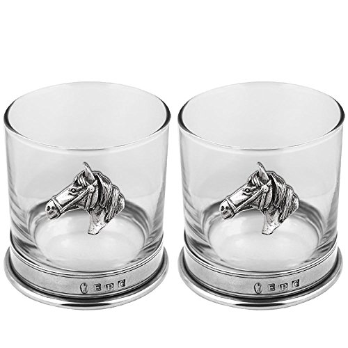 English Pewter Company 11oz Double Tumbler Horse Head Equestrian Set Old Fashioned Whiskey Glass [CSP111] ()