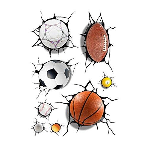 Murals Boys Room (SODIAL(R) 3D Football Basketball Crack Decal Wall Sticker Mural Boys Room Decor)