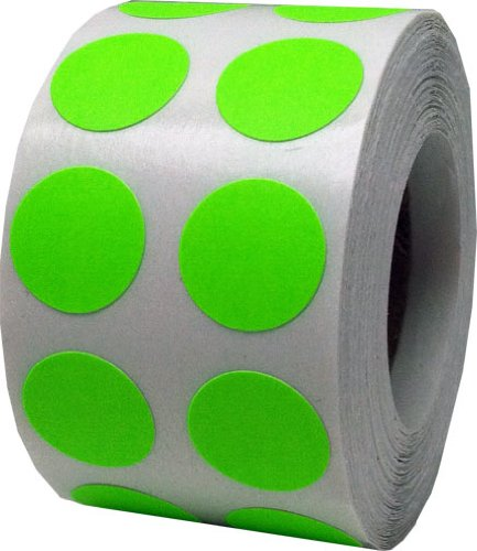 Color Coding Labels Fluorescent Green Round Circle Dots For Organizing Inventory 1/2 Inch 1,000 Total Adhesive Stickers