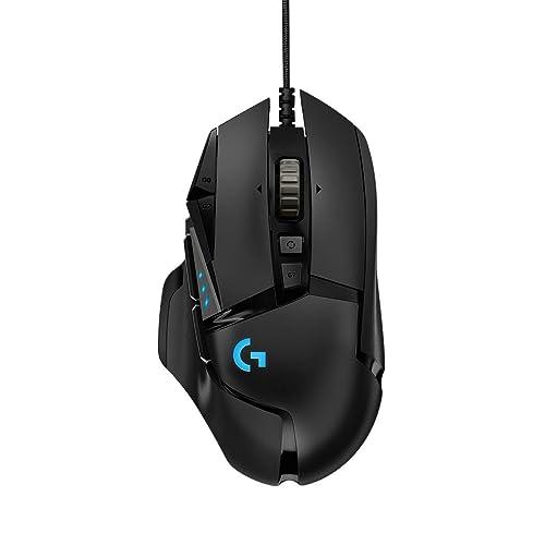 Logitech G502 HERO Gaming-Mause mit HERO Sensor (RGB-Mäuse, 16.000 DPI, 11 programmierbare Tasten, Laptop- und PC-Computermaus, 5 anpassbare Gewichte, Balance-Tuning) – Deutschland-Paket