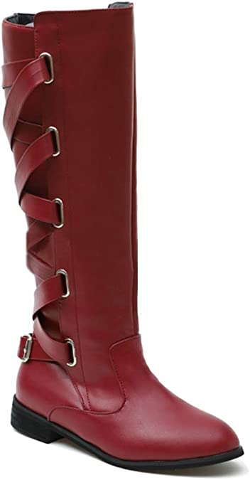 Gtagain Haute Genou Bottes Cuir Chaussures Femme Femmes