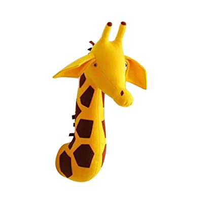 Adarl Plush Stuffed Animal Giraffe Head Wall Decor, Baby Nursery Decor Felt Filled Animal Head Wall Mount for Decoration: Baby