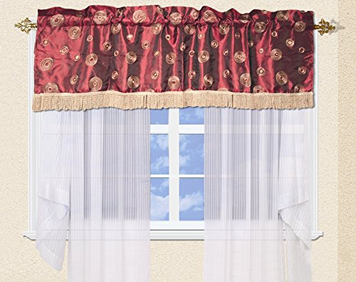 Violet Linen Silky Circle Window Valance, 60