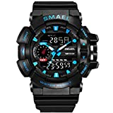 Bounabay Sports Digital Outdoor Watches for Men Military PU Watch Band LED Electronic Wristwatch 50M Water Resistant,Blue