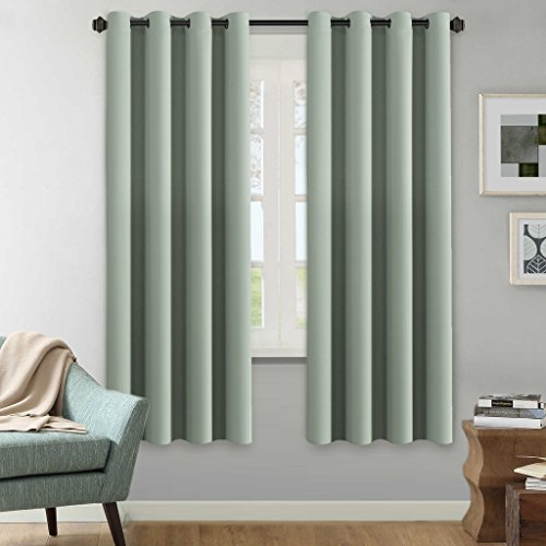 H.Versailtex Winter Season Thermal Insulated Nickel Grommet Blackout Curtains / Draperies for Bedroom/Living Room - 2 Panels Set - 52x72 Inch - Solid Sage Pattern (Draperies Curtains)