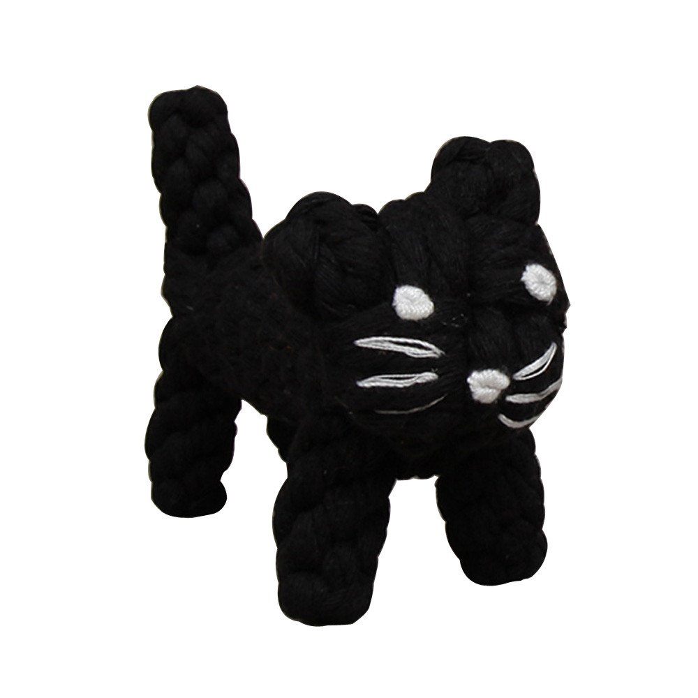 OutTop Pet Dog Durable Chew Toys Cotton Rope Pet Cat and Dog Interactive Biting Toys for Pet Cats and Dogs (16cm, Black)