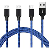 Hi-Mobiler 3 Pack(3ft/6ft/10ft) Micro USB Cable,Android Cable Compatible Samsung Galaxy S3/S4/S5/S6/S6 Edge/S7/S7 Edge Sony, LG, HTC, Nexus, Kindle, PS4(Blue Black)