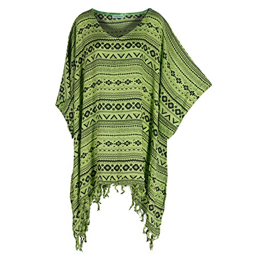 Tropicalsale Women's Green Abstract Tribal Kaftan Tunic Top Big Plus Size