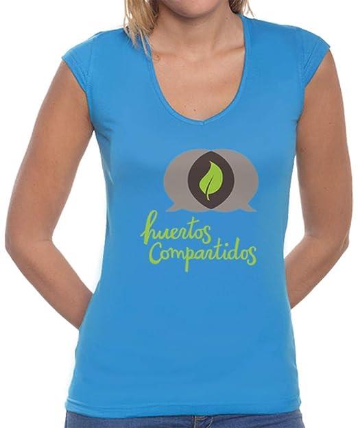 latostadora - Camiseta Chica Huertos Compartidos para Mujer Azulón M