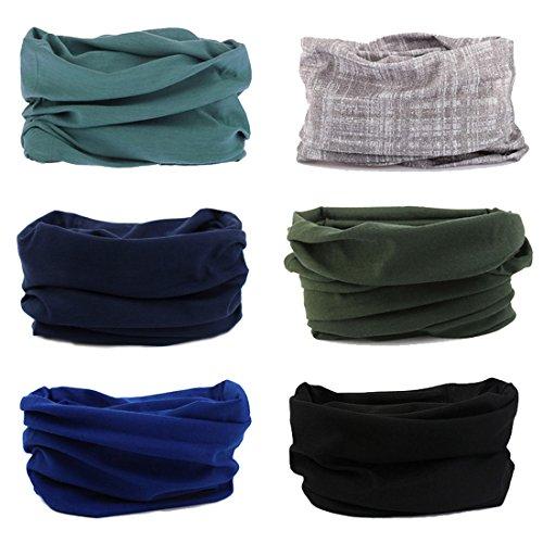 FAYBOX 6pcs Magic Wide Wicking Headbands For Men and Women Outdoor Headwear