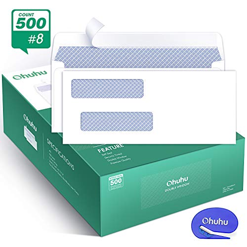 (Ohuhu 500 Pack # 8 Double Window Envelope SELF Seal Adhesive Tinted Security Envelopes Quickbooks Check, Business Check, Documents Secure Mailing, 3 5/8