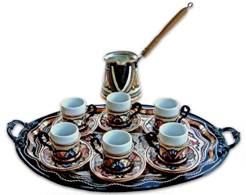 Turkish Coffee World TCW-0004AM Turkish Coffee Set for 6 with Ellipsoidal Tray