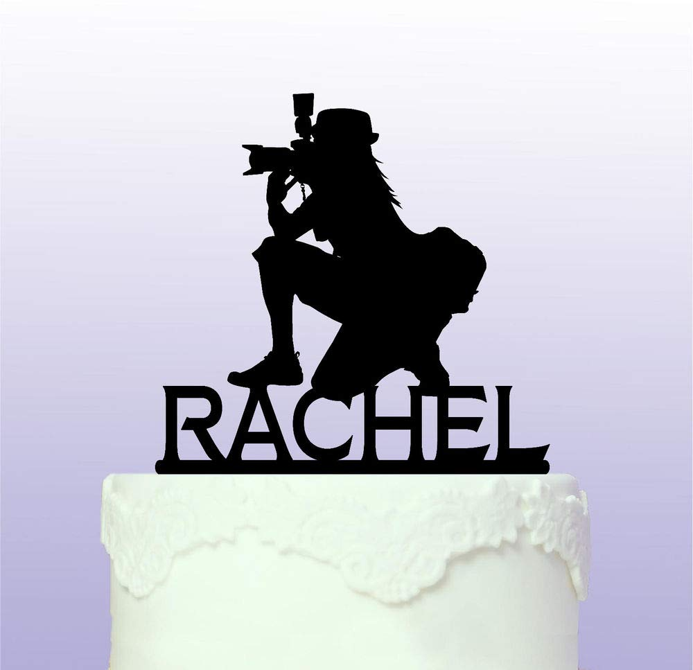 Personalised Female Photographer Cake Topper - Camera