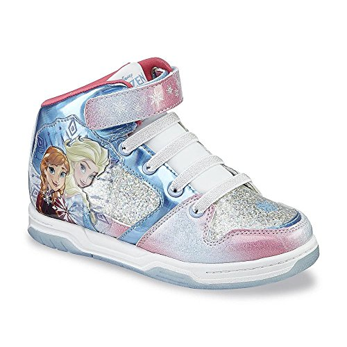 Disney Girl's Frozen High-top Sneaker, Pink/Blue/Silver