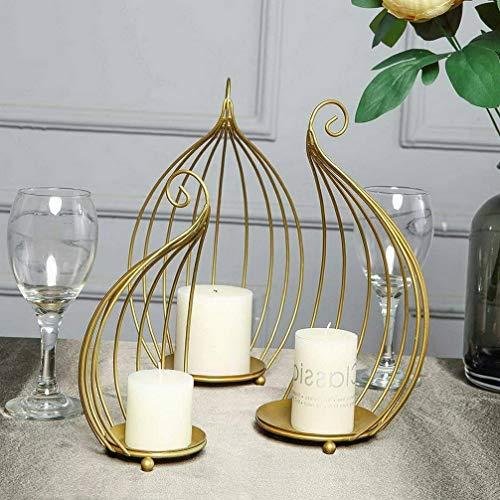 Mikash Gold Metal Candle Holders Half Lanterns Centerpieces Wedding Decorations | Model WDDNGDCRTN - 18459 | 9 Pieces