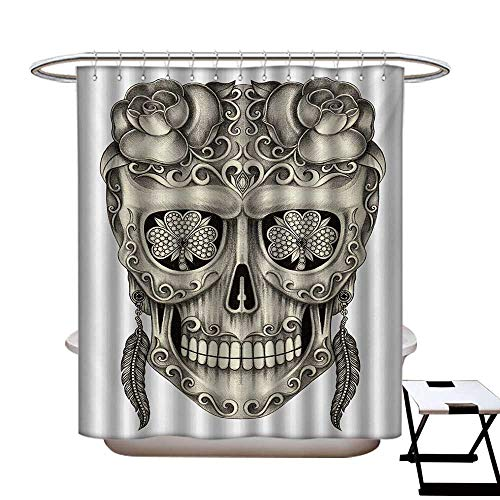 (BlountDecor Day of The Dead Shower Curtains Fabric Extra Long Spanish Sugar Skull with Roses Dragonfly Eyes Feather and Earrings Artwork Bathroom Set with Hooks W72 x L96 Grey)
