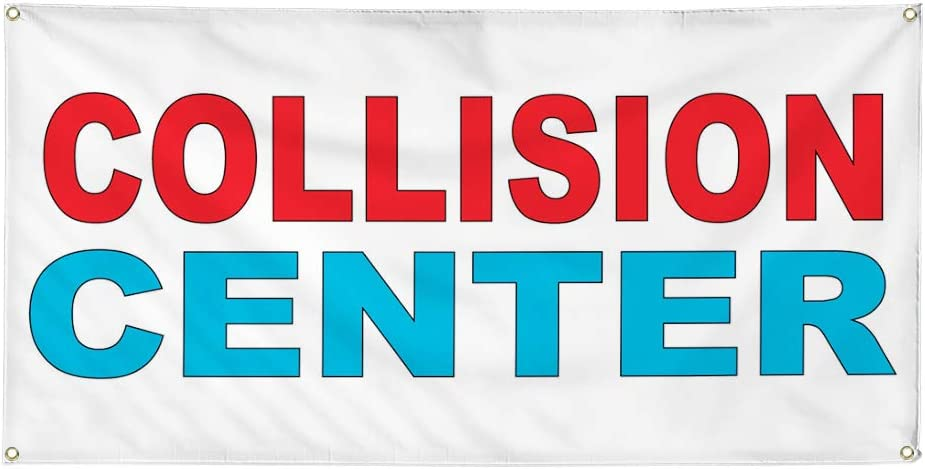 Vinyl Banner Multiple Sizes Collision Center Red Blue Auto Car Repair Shop Automotive Outdoor Weatherproof Industrial Yard Signs 8 Grommets 48x96Inches