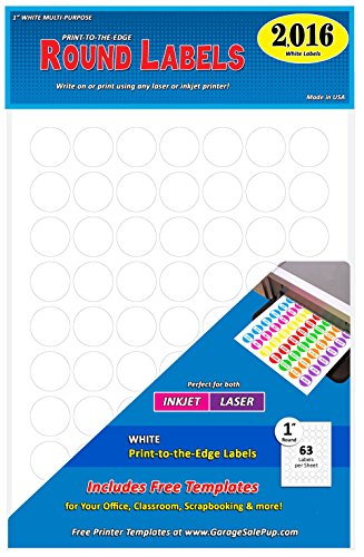 - Pack of 2016, 1-inch Diameter Round Dot Labels, White, 8 1/2 x 11 Inch Sheet, Fits All Laser/Inkjet Printers, 63 Labels per Sheet, 1