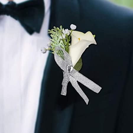 Femmes Corsage blanc Calla Lilies DIAMANTES rose Artificielle Mariage Fleurs