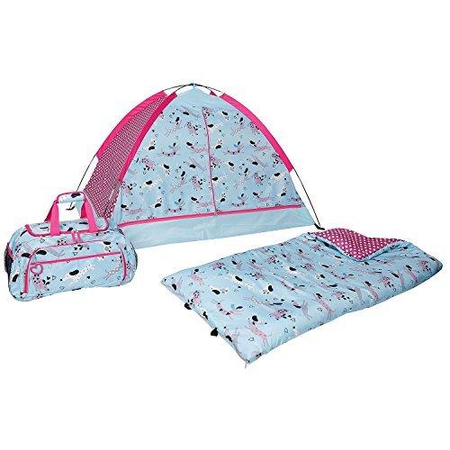 Kids 3-piece Indoor Slumber Set Child's Tent Sleeping Duffel Bag Play Assorted Styles (Dogs) (Outlet Sleeping Bag)