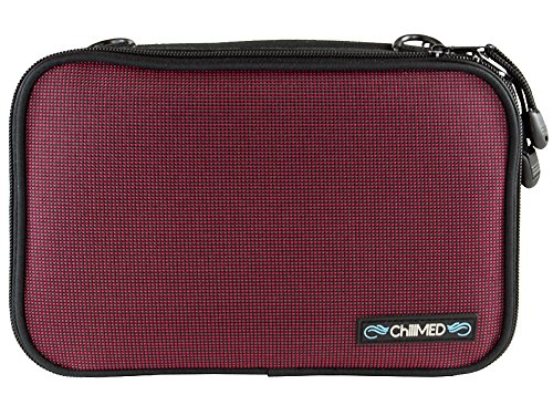 ChillMED Elite Diabetic Insulin Cooler Bag Travel Case with Two 6oz Cold Packs (Burgundy) 10'' x 7'' x 3'' by ChillMED (Image #1)