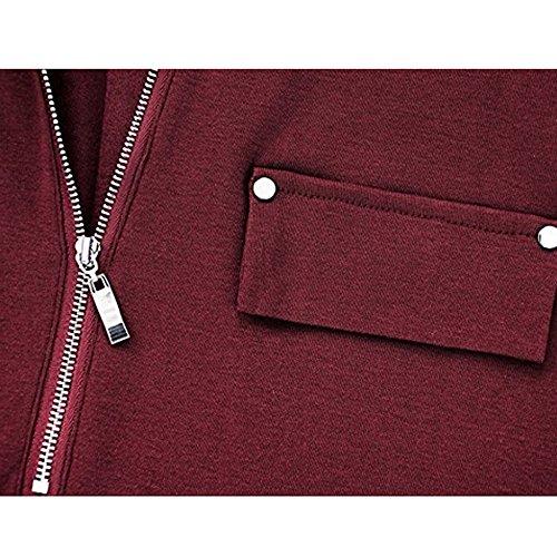 Top Maglietta Casual Taglie Donna Maglietta Maglietta Lunga Elegante Camicia cerniera Sexy Tshirt Forti Maglia Maglietta Tunica Donna Manica Corta Rosso Manica Estiva Weant Manica Moda Lunga Ta7fq8wxn