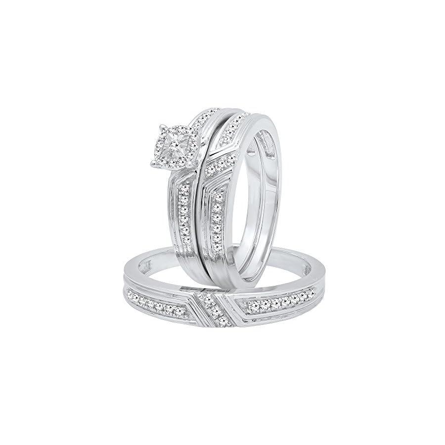 Dazzlingrock Collection 0.65 Carat (ctw) Sterling Silver Round Cut Diamond Men & Women's Engagement Ring Trio Set