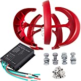 LOVSHARE 100W DC 12V Wind Turbine Generator Kit 5PCS Blades Vertical Wind Power Turbine Generator Red Lantern Style with Charge Controller for Power Supplementation (100W 12V)