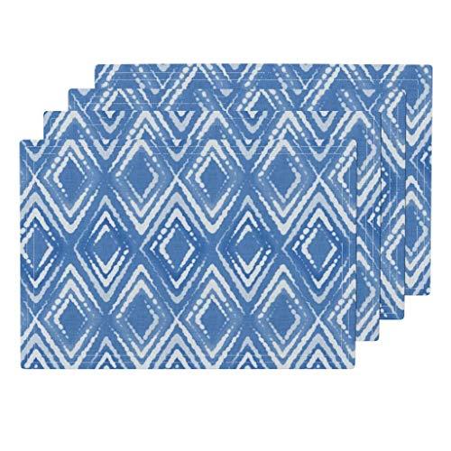 Roostery Indigo 4pc Linen Cotton Canvas Cloth Placemat Set - Shibori Batik Japanese Argyle Tie Dye Blue by Vannina (Set of 4) 13 x 19in