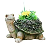 SINTECHNO SNF36140 Wise Turtle with Moss Covered Shell Sculpture with Flower Pot