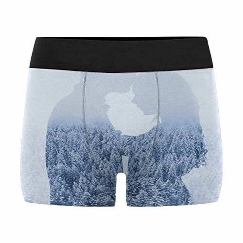 InterestPrint Men's Boxer Briefs Love in Winter, Couple on Forest, Double Exposure XS by InterestPrint