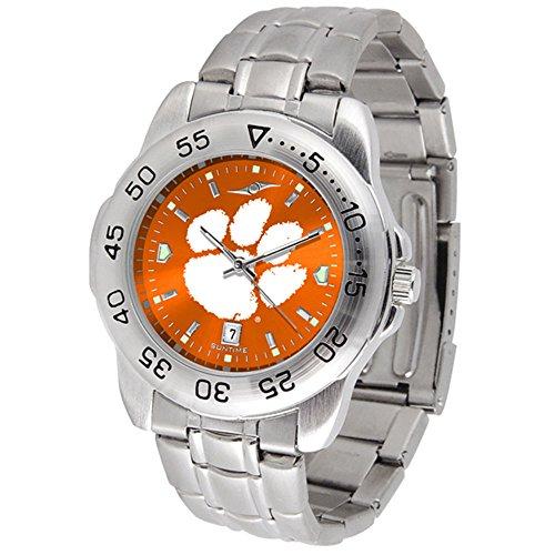 (SunTime Clemson Tigers Sport Steel Band Ano-Chrome Men's Watch)