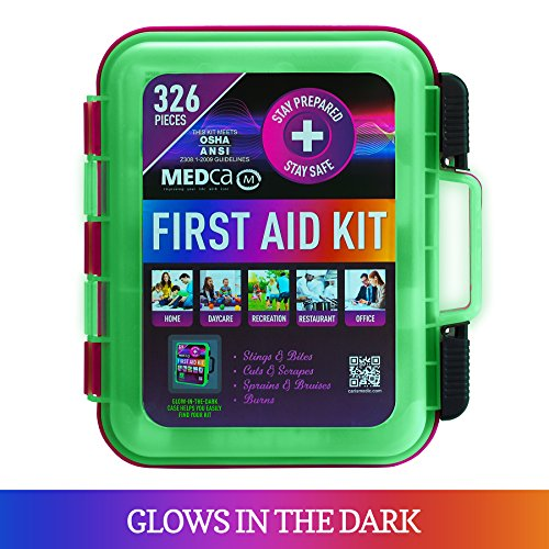 First Aid Kit - Emergency First Aid Kit and Medical Kit Exceeds ANSI Z308.1-2009 OSHA Standards, Hard Case, Wall Mount & Glows in The Dark for Offices, Home, Schools, Daycare, Construction Sites by MEDca (Image #2)