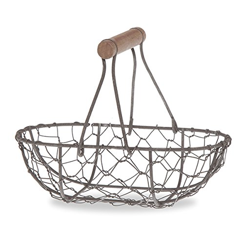 Small Oblong Wire Mesh Fixed Handle Basket - Rust Brown (Small Wood Fruit Basket compare prices)