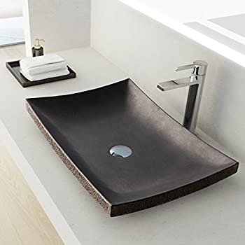 MAYKKE Payson 24 Inch Rectangular Bathroom Stone Sink, Black Natural Stone  Granite Sinks For Bathroom