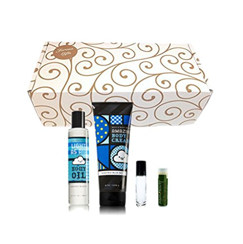 ELECTRIC BLUE SKY Bath & Body Works 4 Piece Set of Light as Air Body Oil & Amazing Body Cream in a gold scroll box with a Jarosa Peppermint Lip ()