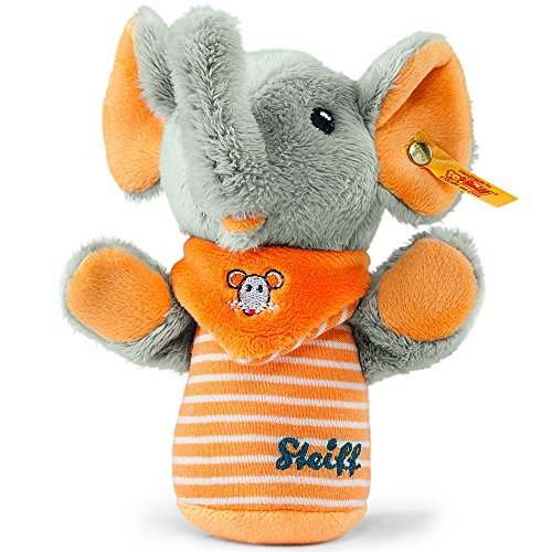 Steiff Trampili Elephant Grip Toy with Rustling Foil ,Grey/orange, ()