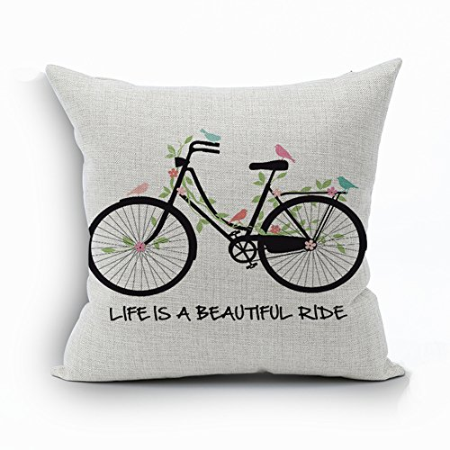 Ruideng Bus Series Cotton Linen Square Throw Pillow Case Decorative Cushion Cover Pillowcase Cushion Case for Sofa,Bed,Chair,Bedding 18 X 18 Inch (Life is a beautiful ride)