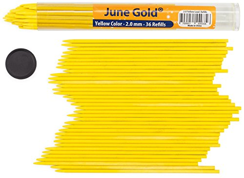 Yellow Colored Pen (June Gold 36 Yellow Colored Lead Refills, 2.0 mm, Extra Bold Thickness for Heavy Use, Break Resistant with a Convenient Dispenser)