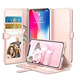 ESR Wallet Case for iPhone X, [Kickstand Feature] [Scratch-Free Flexible Inner Case] Folio Wallet Case with Strap/Card Slots/Side Pocket for 5.8'' iPhone X(Rose Gold)