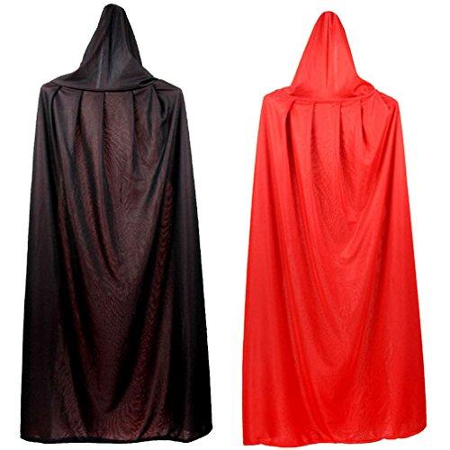 Vampire Costume Makeup Men (Mens Womens Hooded Cape Cloak Double Layers Masquerade Halloween Cosplay Costume)