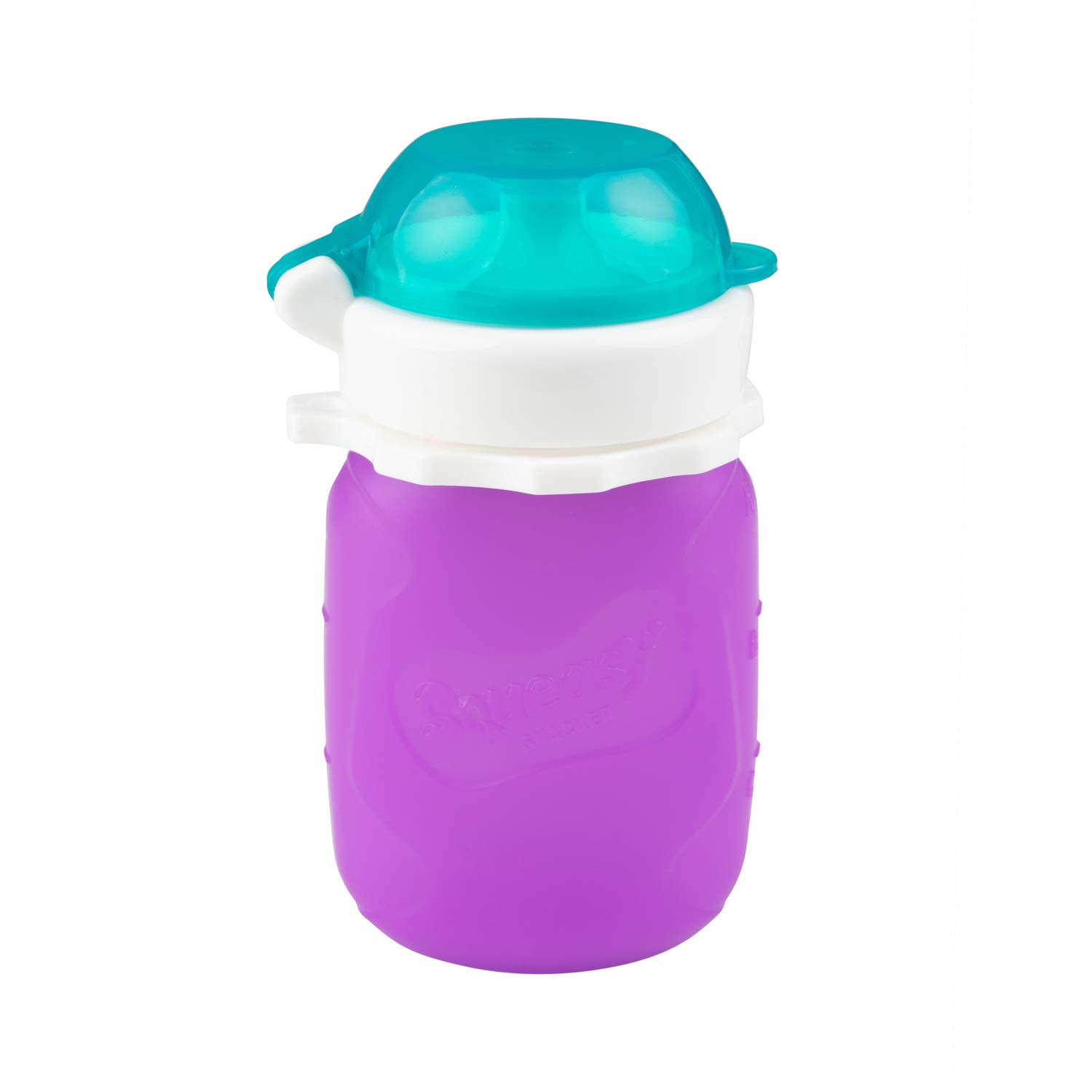 Purple 3.5 oz Squeasy Snacker Spill Proof Silicone Reusable Food Pouch - for Both Soft Foods and Liquids - Water, Apple Sauce, Yogurt, Smoothies, Baby Food - Dishwasher Safe