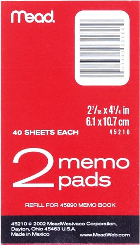 Meadwestvaco Memo Pads, 2 7/16 inches x 4 1/4 inches, 2 memo pads per pack (45210)