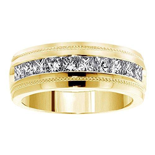 VIP Jewelry Art 1.00 CT TW Princess Cut Diamond Men's Ring in 14k Yellow Gold Channel Setting - Size - Princess Ct Tw Diamonds 1