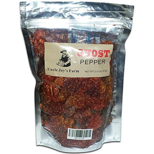 Uncle Jay's Farm Ghost Pepper, Bhut Jolokia, Whole Ghost Pepper pods for stews, chicken, chili beans, Pizza, salsas, soups, and more (Fresh Ghost Pepper)