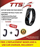 TTS Pro Sport WristBand 58 Smart Bluetooth Fitness Tracker Pedometer + Bonus Blue Silicone Replacement Band for IOS & Android Smartphones