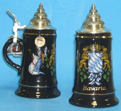 Black Bavaria & Flags German Beer Stein 0.25 Liter