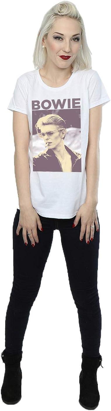 David Bowie Womens Smoking Photograph T-Shirt Small White