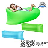 Inflatable Lounger, Air Sofa Lounge, Portable Hammock Couch with travel bag perfect for indoor, outdoor, by the beach, pool or camping -easy to inflate - water proof, comes with carry bag (Light Blue)